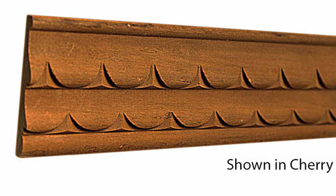 "Profile view of decorative cherry carved molding, product number CHDC125 5/16""x2"" Cherry $9.88/ft. sold by American Wood Moldings"