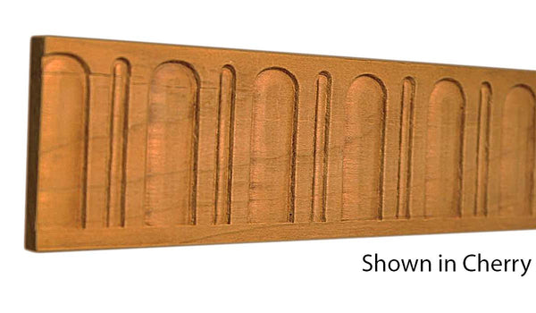 "Profile view of decorative cherry carved molding, product number CHDC130 1/4""x2"" Cherry $9.88/ft. sold by American Wood Moldings"