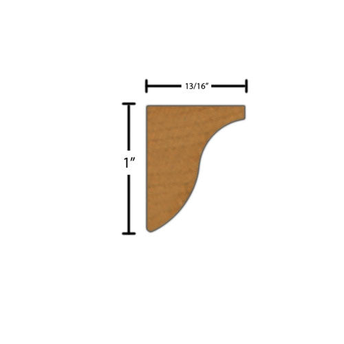"Side View of Decorative Carved Molding, product number DC-100-026-1-CH - 13/16"" x 1"" Cherry Decorative Carved Molding - $4.96/ft sold by American Wood Moldings"