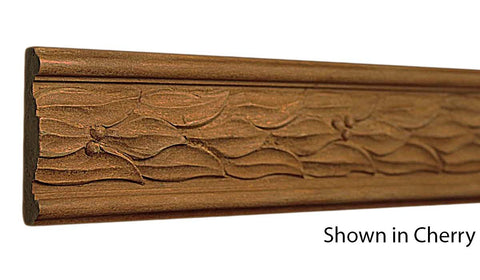 "Profile view of decorative cherry carved molding, product number CHDC200 9/16""x2"" Cherry $14.88/ft. sold by American Wood Moldings"