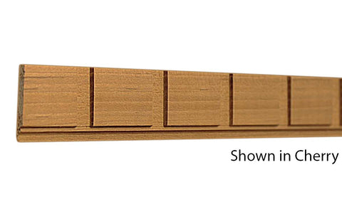"Profile view of decorative cherry dentil molding, product number CHDD105 1/4""x1-1/8"" Cherry $3.24/ft. sold by American Wood Moldings"