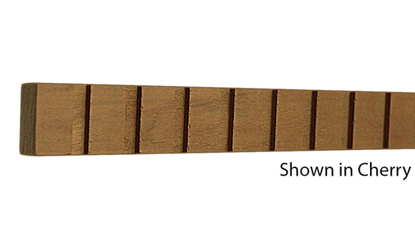 "Profile view of decorative cherry dentil molding, product number CHDD140 11/16""x1"" Cherry $2.88/ft. sold by American Wood Moldings"