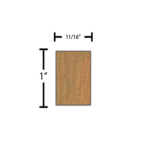 "Side view of decorative cherry dentil molding, product number CHDD140 11/16""x1"" Cherry $2.88/ft. sold by American Wood Moldings"