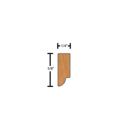 "Side view of decorative cherry dentil molding, product number CHDD150 1/4""x5/8"" Cherry $1.80/ft. sold by American Wood Moldings"
