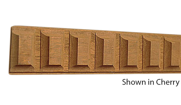 "Profile view of decorative cherry dentil molding, product number CHDD155 3/8""x1-1/2"" Cherry $4.32/ft. sold by American Wood Moldings"