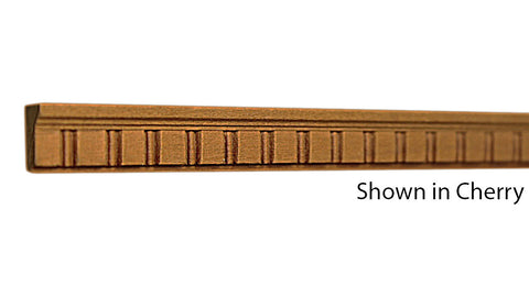"Profile view of decorative cherry embossed molding, product number CHDE160 1/4""x1/2"" Cherry $1.44/ft. sold by American Wood Moldings"