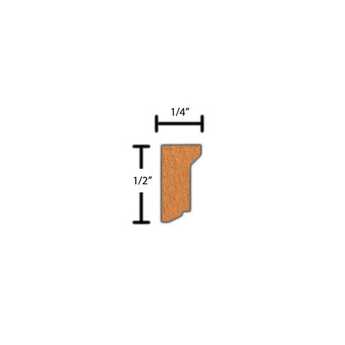 "Side View of Decorative Embossed Molding, product number DE-016-008-1-CH - 1/4"" x 1/2"" Cherry Decorative Embossed Molding - $1.44/ft sold by American Wood Moldings"