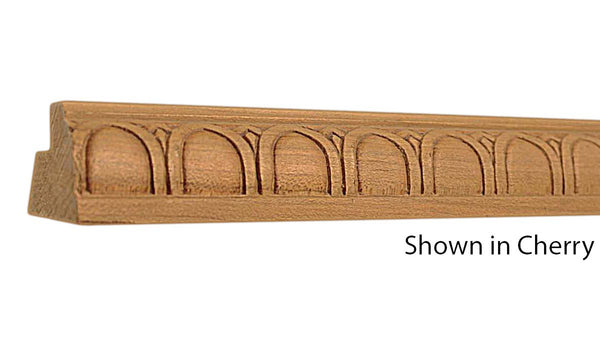 "Profile view of decorative cherry embossed molding, product number CHDE165 1-3/4""x1-1/4"" Cherry $8.40/ft. sold by American Wood Moldings"