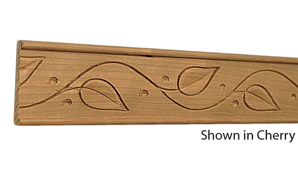"Profile view of decorative cherry embossed molding, product number CHDE175 3/8""x1-3/4"" Cherry $5.04/ft. sold by American Wood Moldings"