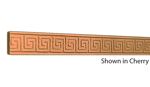 "Profile View of Decorative Embossed Molding, product number DE-024-008-2-CH - 1/4"" x 3/4"" Cherry Decorative Embossed Molding - $2.16/ft sold by American Wood Moldings"