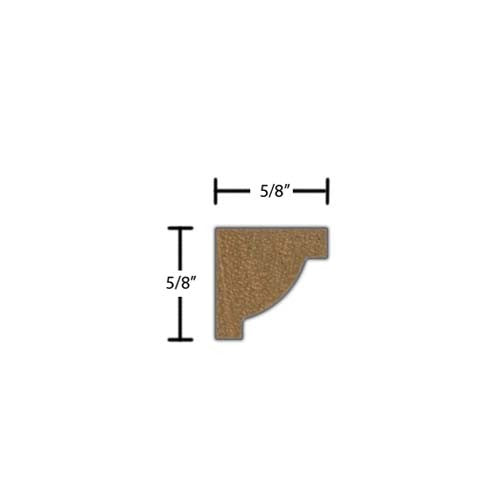 "Side view of crown molding, product number CR020 5/8""x5/8"" Honduras Mahogany $1.48/ft. sold by American Wood Moldings"