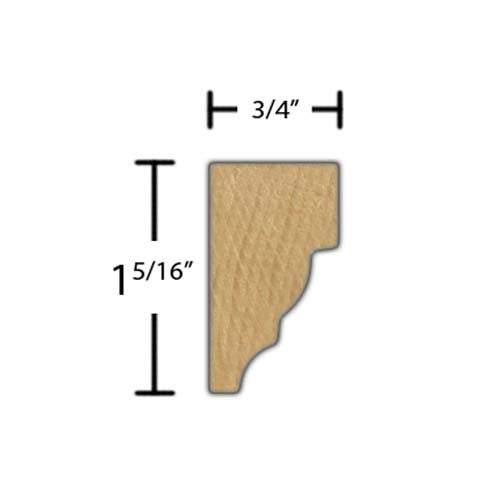 "Side View of Crown Molding, product number CR-110-024-1-HMH - 3/4"" x 1-5/16"" Honduras Mahogany Crown - $3.48/ft sold by American Wood Moldings"