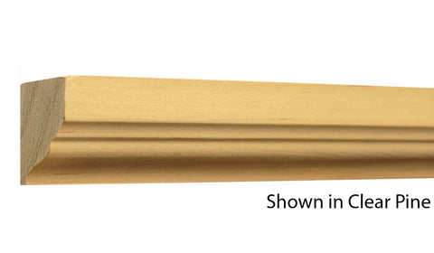 "Profile view of crown molding, product number CR110 1-1/16""x1-3/8"" Clear Pine $2.20/ft. sold by American Wood Moldings"