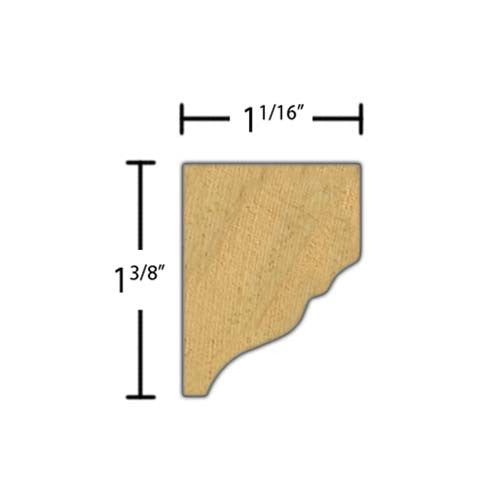 "Side view of crown molding, product number CR110 1-1/16""x1-3/8"" Clear Pine $2.20/ft. sold by American Wood Moldings"
