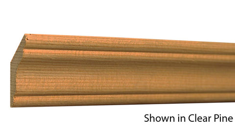 "Profile View of Crown Molding, product number CR-118-016-1-CP - 1/2"" x 1-9/16"" Clear Pine Crown - $0.92/ft sold by American Wood Moldings"
