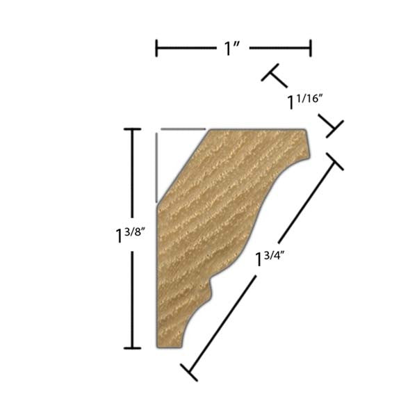 "Side view of crown molding, product number CR180 11/16""x1-3/4"" Hickory $1.72/ft. sold by American Wood Moldings"