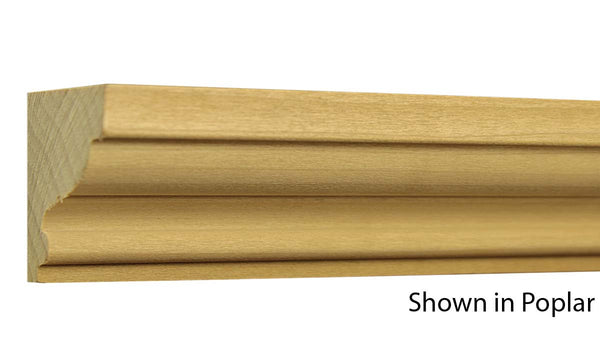 "Profile view of crown molding, product number CR205 1-3/8""x2"" Poplar $1.96/ft. sold by American Wood Moldings"