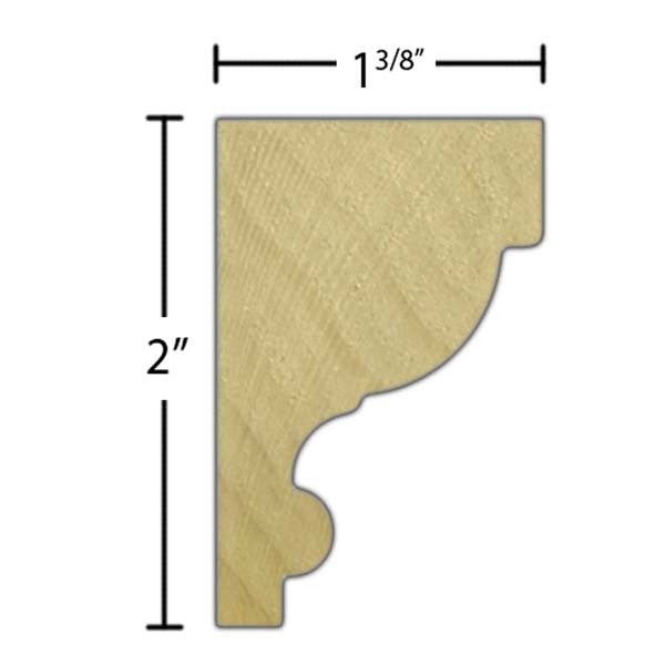 "Side view of crown molding, product number CR205 1-3/8""x2"" Poplar $1.96/ft. sold by American Wood Moldings"