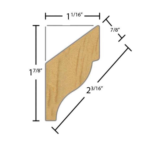 "Side view of crown molding, product number CR215 7/8""x2-3/16"" Clear Pine $2.24/ft. sold by American Wood Moldings"