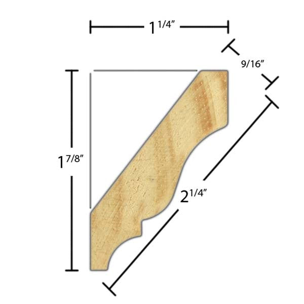 "Side view of crown molding, product number CR225 9/16""x2-1/4"" Clear Pine $1.32/ft. sold by American Wood Moldings"