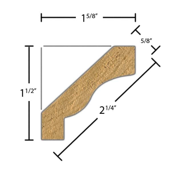 "Side View of Crown Molding, product number CR-208-020-1-KPI - 5/8"" x 2-1/4"" Knotty Pine Crown - $1.28/ft sold by American Wood Moldings"