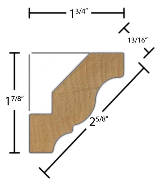 "Side View of Crown Molding, product number CR-220-026-1-MA - 13/16"" x 2-5/8"" Maple Crown - $3.36/ft sold by American Wood Moldings"