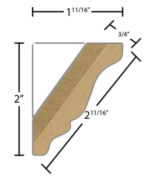 "Side view of crown molding, product number CR275 3/4""x2-11/16"" Maple $3.44/ft. sold by American Wood Moldings"