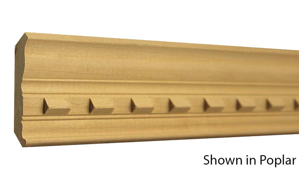 "Profile View of Crown Molding, product number CR-300-018-1-PO - 9/16"" x 3"" Poplar Crown - $4.20/ft sold by American Wood Moldings"