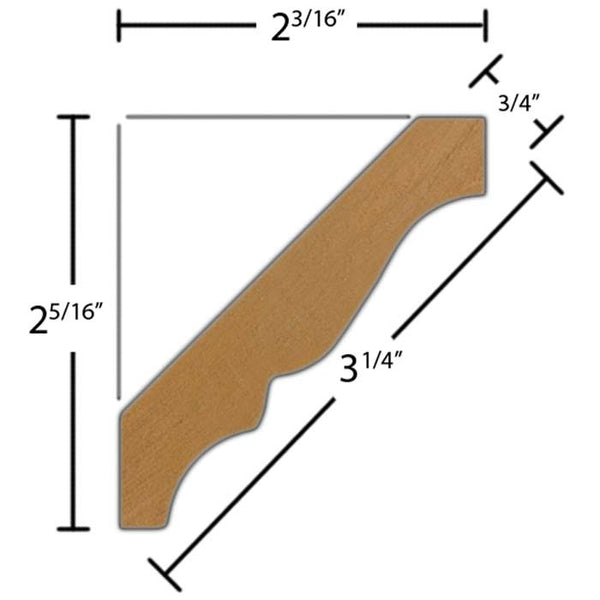 "Side View of Crown Molding, product number CR-308-024-3-HMH - 3/4"" x 3-1/4"" Honduras Mahogany Crown - $6.12/ft sold by American Wood Moldings"