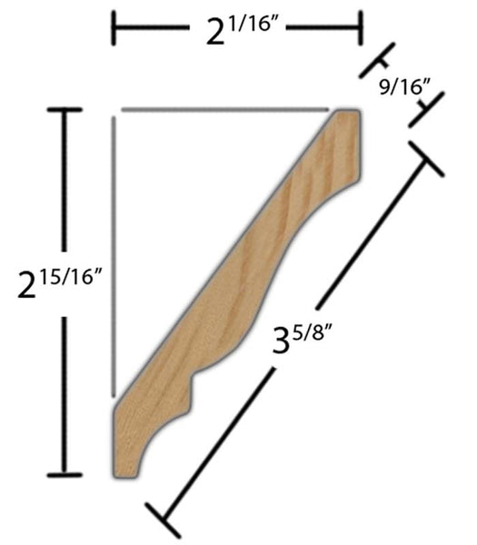 "Side View of Crown Molding, product number CR-320-018-1-CP - 9/16"" x 3-5/8"" Clear Pine Crown - $1.92/ft sold by American Wood Moldings"