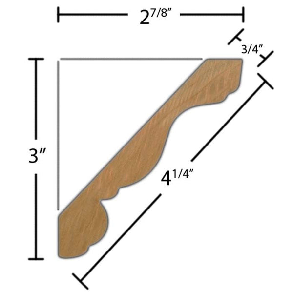 "Side view of crown molding, product number CR445 3/4""4-1/4"" Poplar $1.84/ft. sold by American Wood Moldings"