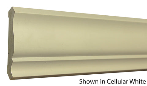 "Profile View of Crown Molding, product number CR-420-022-1-CW - 11/16"" x 4-5/8"" Cellular White Crown - $3.44/ft sold by American Wood Moldings"