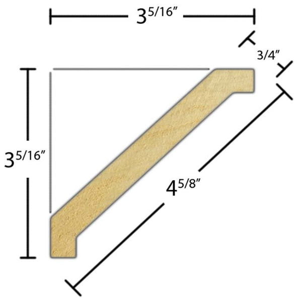 "Side view of crown molding, product number CR470 3/4""x4-5/8"" Poplar $2.48/ft. sold by American Wood Moldings"