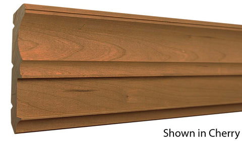 "Profile View of Crown Molding, product number CR-428-024-1-CH - 3/4"" x 4-7/8"" Cherry Crown - $5.64/ft sold by American Wood Moldings"