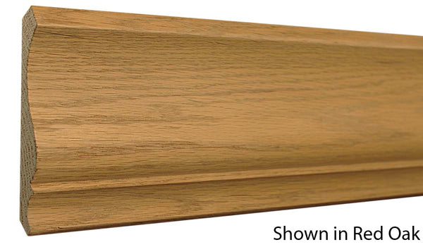 "Profile view of crown molding, product number CR505 11/16""x5-1/8"" Red Oak $3.96/ft. sold by American Wood Moldings"