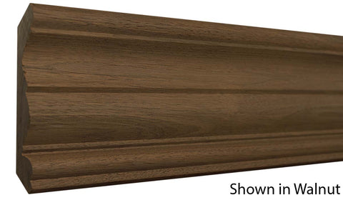 "Profile View of Crown Molding, product number CR-508-024-1-WA - 3/4"" x 5-1/4"" Walnut Crown - $9.04/ft sold by American Wood Moldings"
