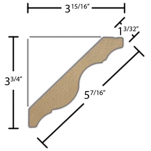 "Side View of Crown Molding, product number CR-514-103-1-MA - 1-3/32"" x 5-7/16"" Maple Crown - $7.68/ft sold by American Wood Moldings"