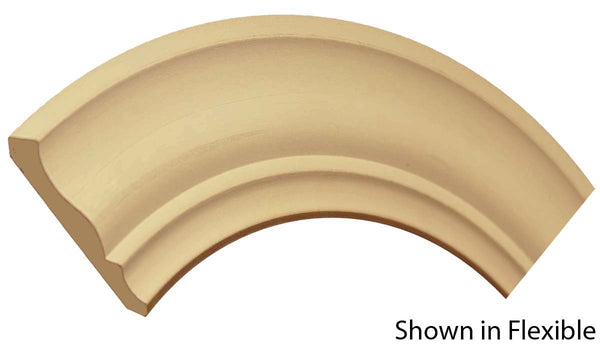 "Profile view of a flexible MDF Crown molding, product number FRCR320 5/8"" x 3-5/8"" - $7.49/ft. sold by American Wood Moldings"