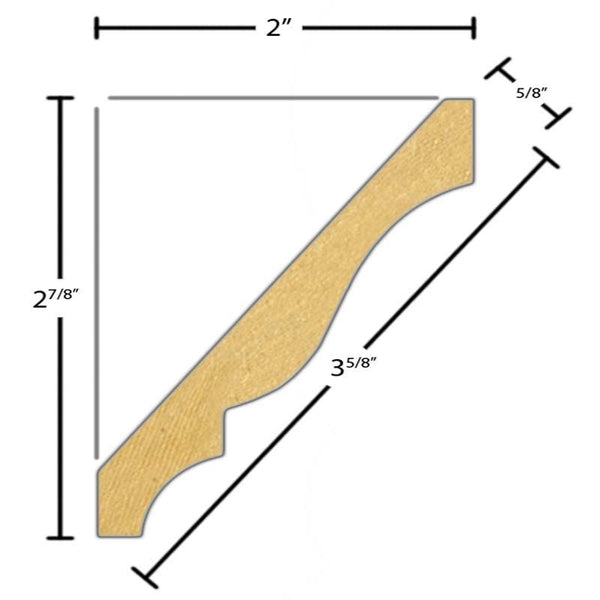 "Side view of a flexible MDF Crown molding, product number FRCR320 5/8"" x 3-5/8"" - $7.49/ft. sold by American Wood Moldings"