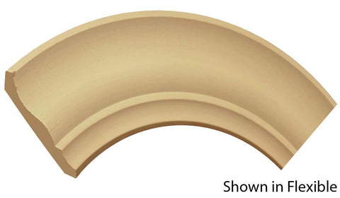 "Profile View of Flexible Crown Molding, product number CR-408-020-1-FL - 5/8"" x 4-1/4"" Smooth Urethane Flexible Crown - $12.70/ft sold by American Wood Moldings"