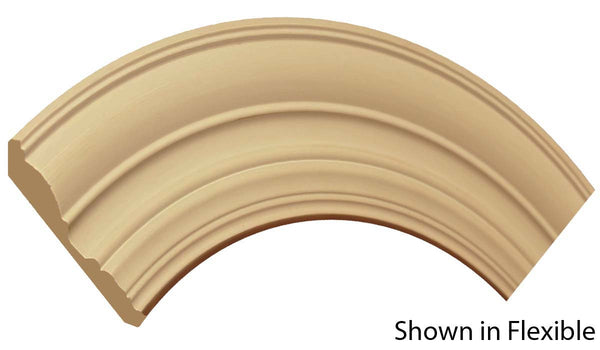 "Profile view of a flexible MDF Crown molding, product number FRCR420 5/8"" x 4-1/2"" - $11.75/ft. sold by American Wood Moldings"