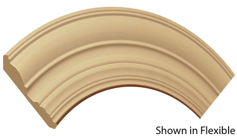 "Profile View of Flexible Crown Molding, product number CR-416-020-1-FL - 5/8"" x 4-1/2"" Smooth Urethane Flexible Crown - $11.75/ft sold by American Wood Moldings"