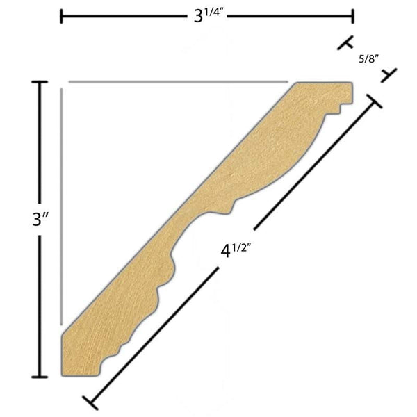 "Side view of a flexible MDF Crown molding, product number FRCR420 5/8"" x 4-1/2"" - $11.75/ft. sold by American Wood Moldings"