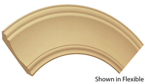 "Profile view of a flexible MDF Crown molding, product number FRCR430 5/8"" x 4-1/2"" - $15.39/ft. sold by American Wood Moldings"