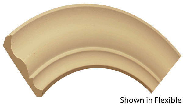 "Profile view of a flexible MDF Crown molding, product number FRCR510 5/8"" x 5-1/4"" - $19.90/ft. sold by American Wood Moldings"