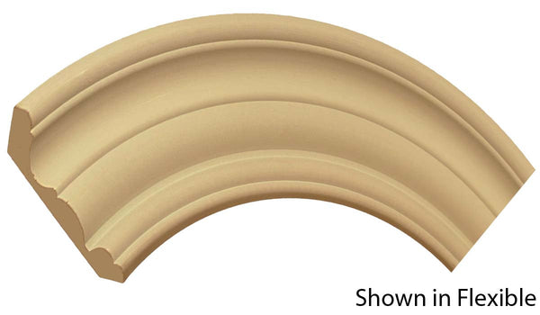 "Profile view of a flexible MDF Crown molding, product number FRCR520 7/8"" x 5-1/4"" - $20.19/ft. sold by American Wood Moldings"