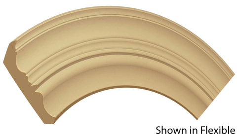 "Profile view of a flexible MDF Crown molding, product number FRCR530 3/4"" x 5-15/16"" - $25.77/ft. sold by American Wood Moldings"