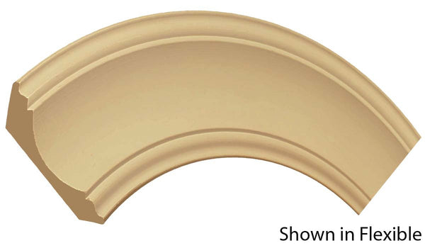 "Profile view of a flexible MDF Crown molding, product number FRCR610 1-3/16"" x 6-5/16"" - $30.37/ft. sold by American Wood Moldings"