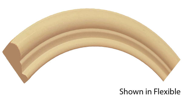 "Profile View of Flexible Panel Molding, product number PA-112-024-3-FL - 3/4"" x 1-3/8"" Smooth Urethane Flexible Panel Molding - $5.04/ft sold by American Wood Moldings"