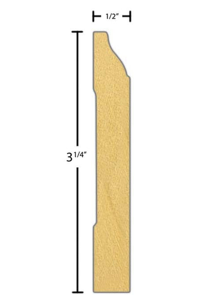 "Side View of Flexible Base Molding, product number BA-308-016-1-FL - 1/2"" x 3-1/4"" Smooth Urethane Flexible Base - $8.93/ft sold by American Wood Moldings"